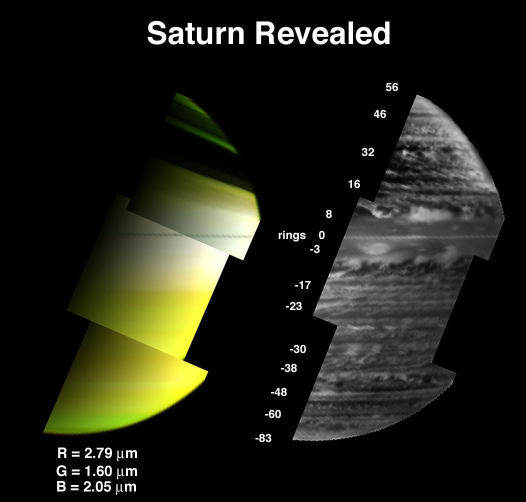 These two images provided by the visual infrared mapping spectrometer on the Cassini spacecraft reveal a diverse array of clouds in the depths of Saturn.