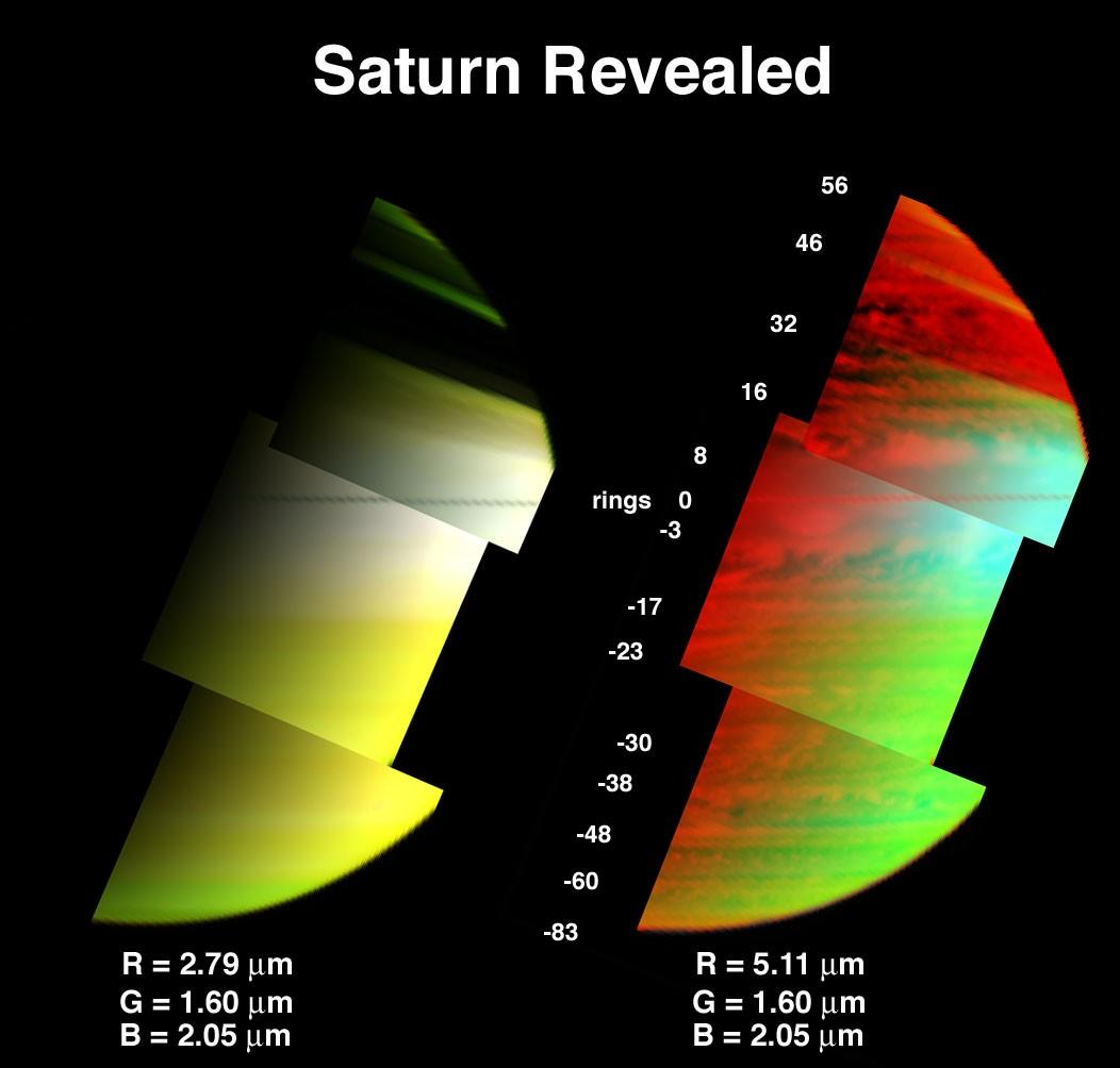 Saturn's clouds and hazes at three different levels in the atmosphere are depicted in the image on the right. The image on the left shows only the upperatmosphere above the 1-bar level.