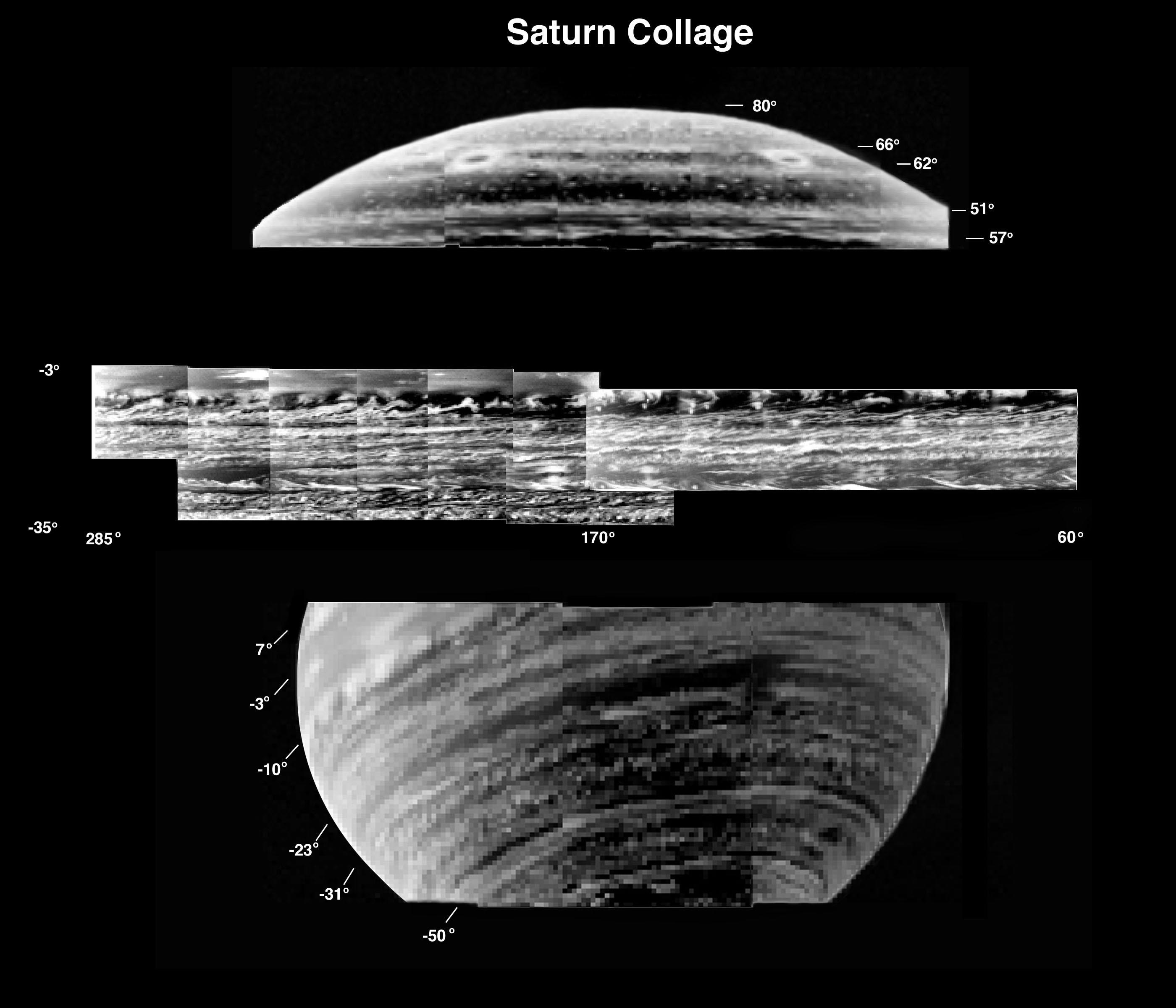 This is a collection of the most detailed images of deep-level clouds obtained by the visual and infrared mapping spectrometer onboard the Cassini spacecraft.