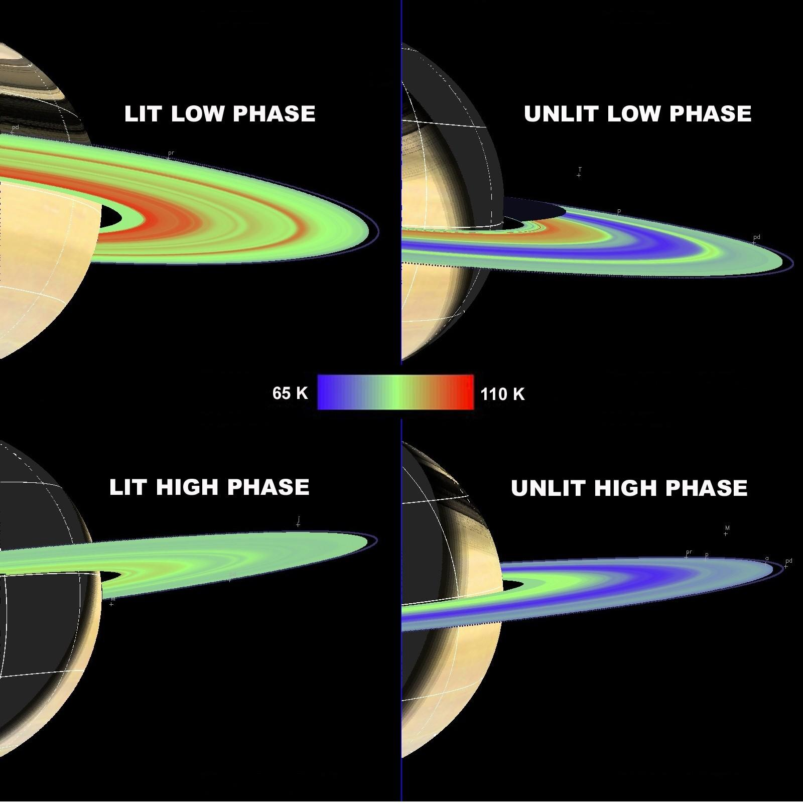 This image shows temperature maps of Saturns main rings (A, B and C)