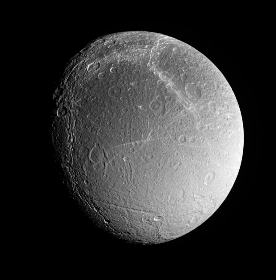 This is an image of Dione's southern polar region.