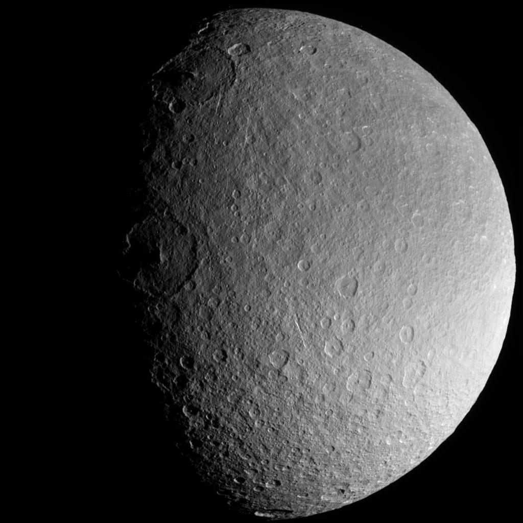This is an image of Saturn's moon Rhea