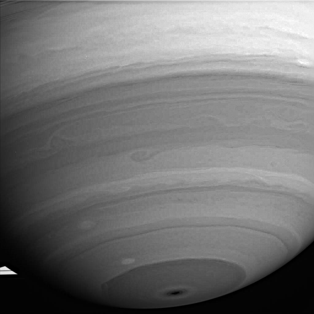 This image shows an infrared view of Saturn's southern hemisphere