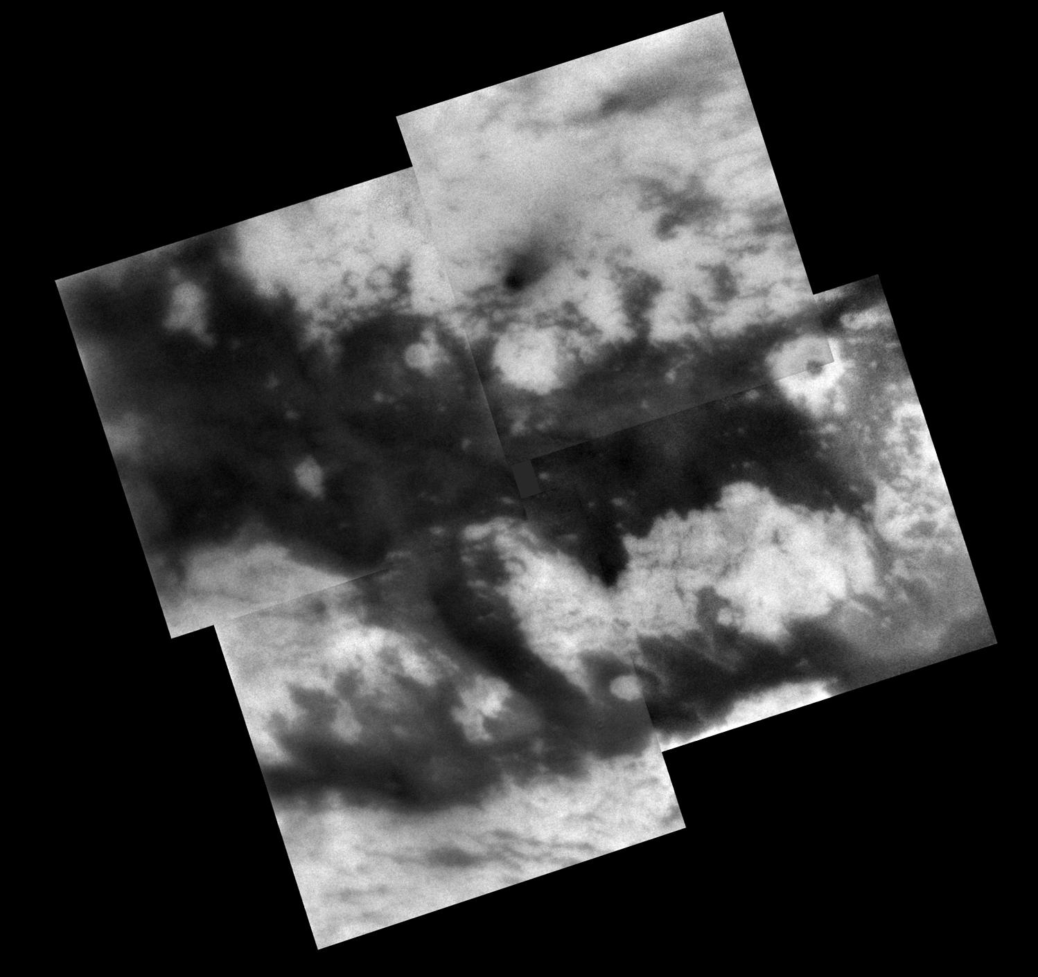This mosaic shows territory on Titan's Saturn-facing hemisphere.