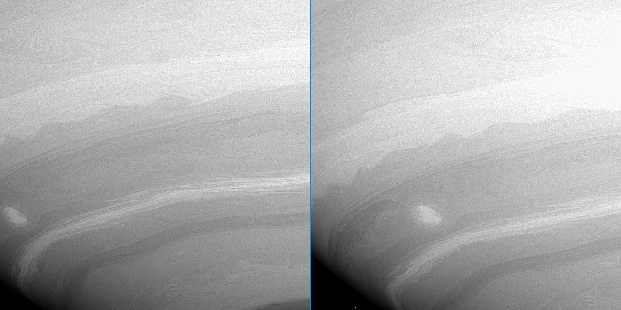 two images of Saturn showing vortices and turbulent wake's in the atmosphere