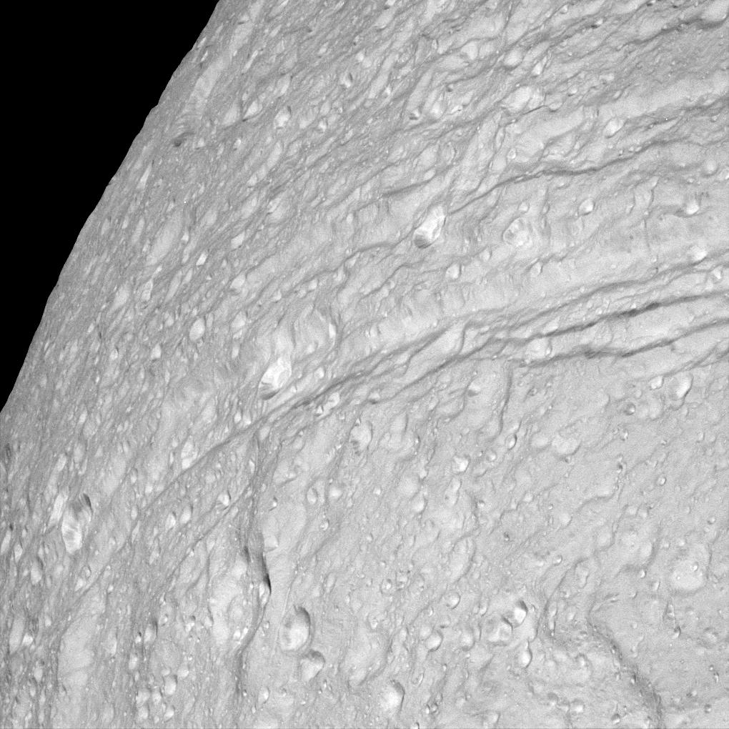 a close up image of Tethys' surface
