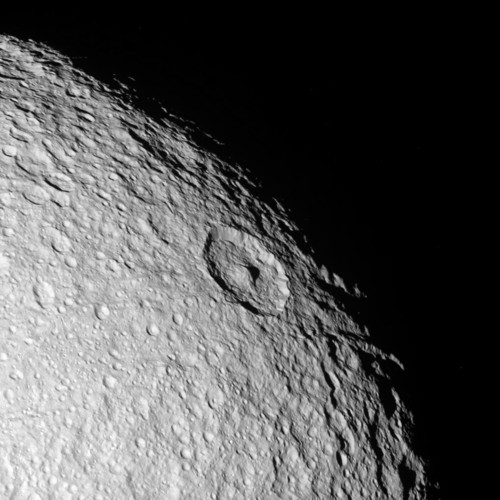 an image of Tethys' northern polar region