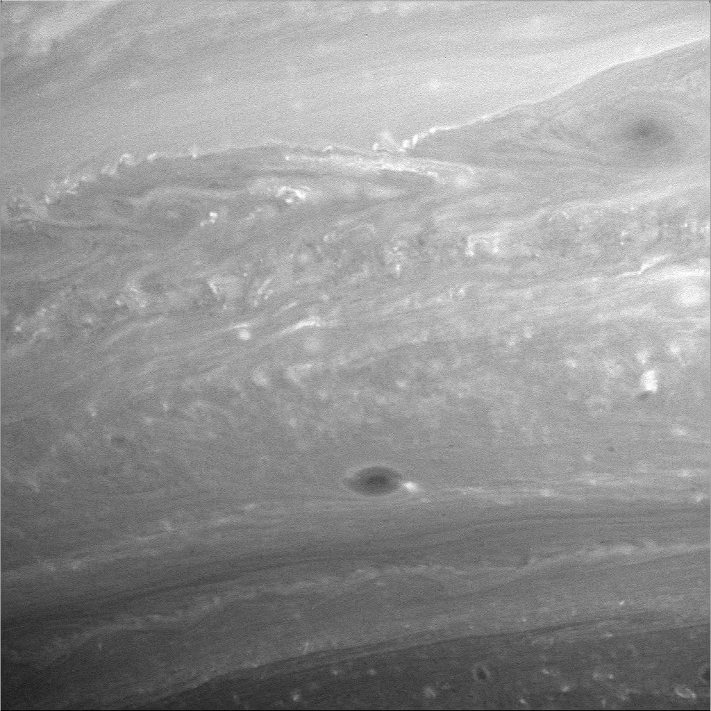 a closeup image of Saturn's atmosphere
