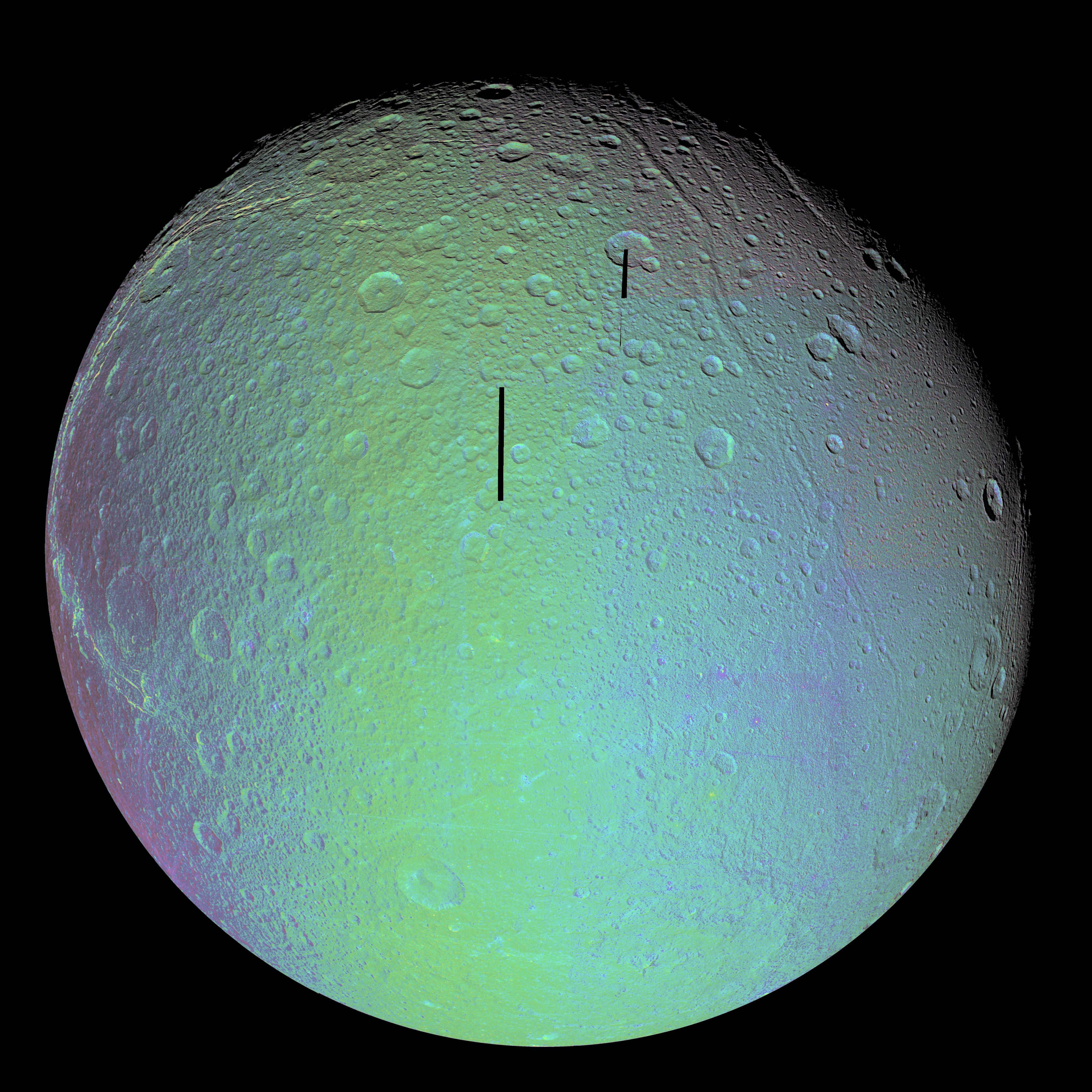a false-color image of Dione