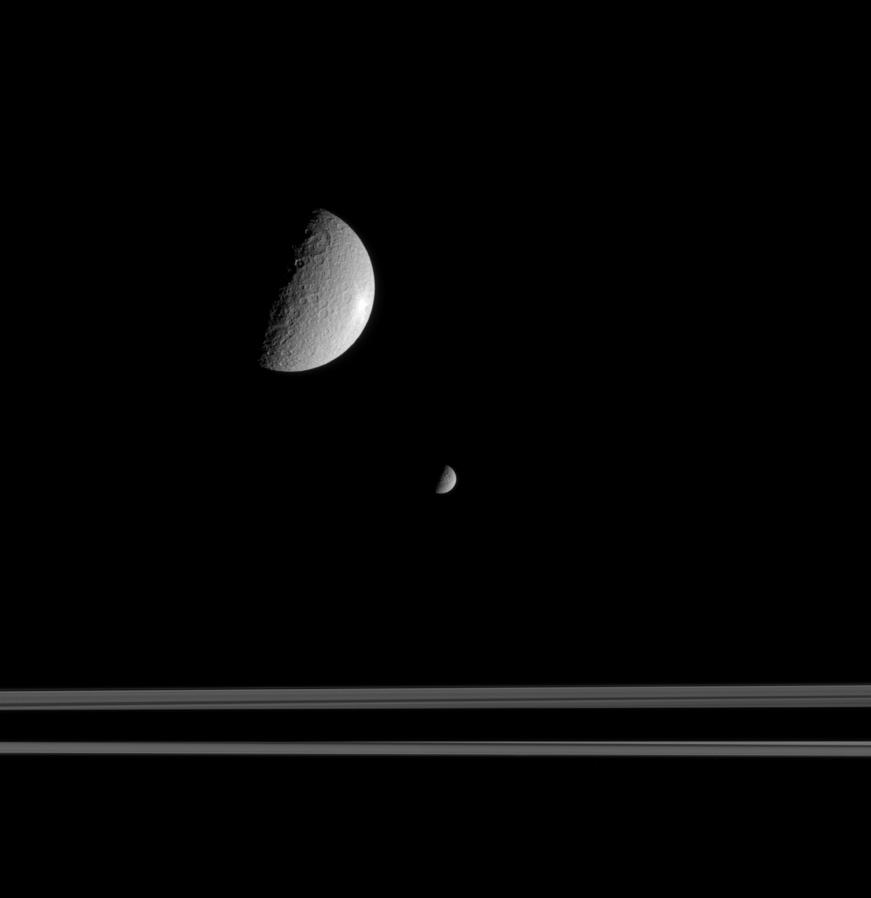 Dione and Rhea together near the rings