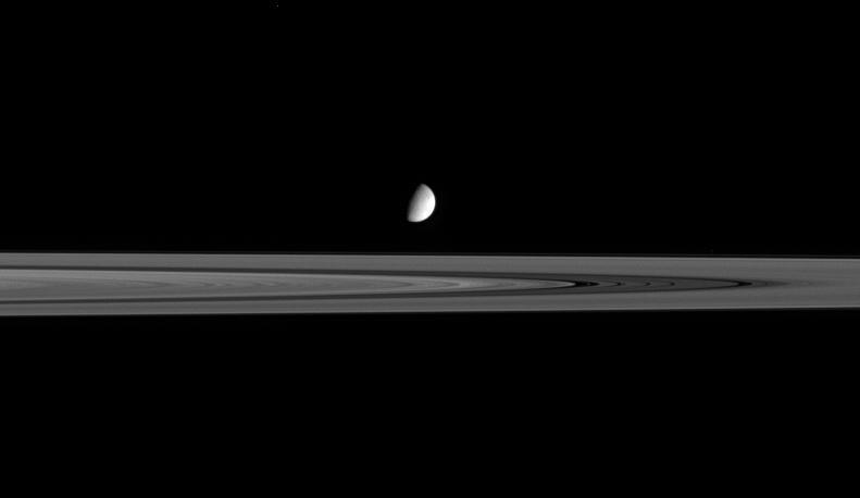Enceladus amongst the rings