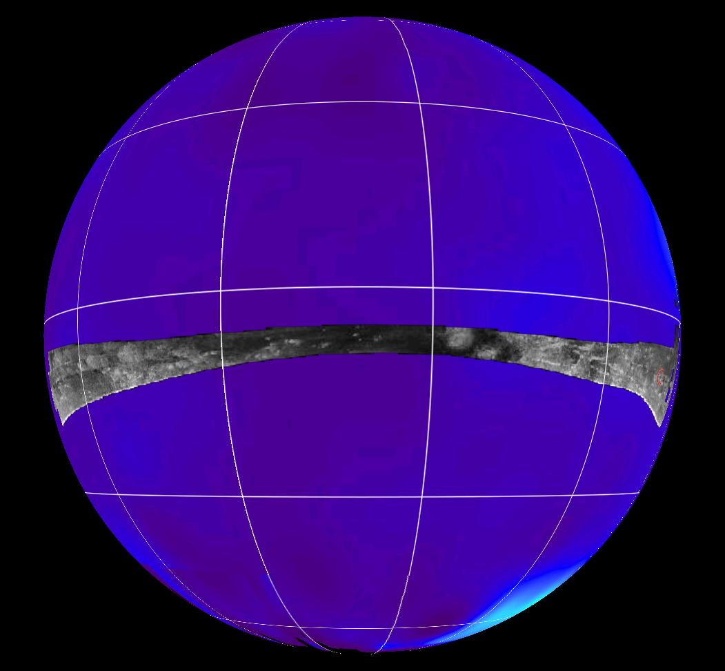Radar swath is superimposed on a false-color image made from observations by NASA's Hubble Space Telescope.