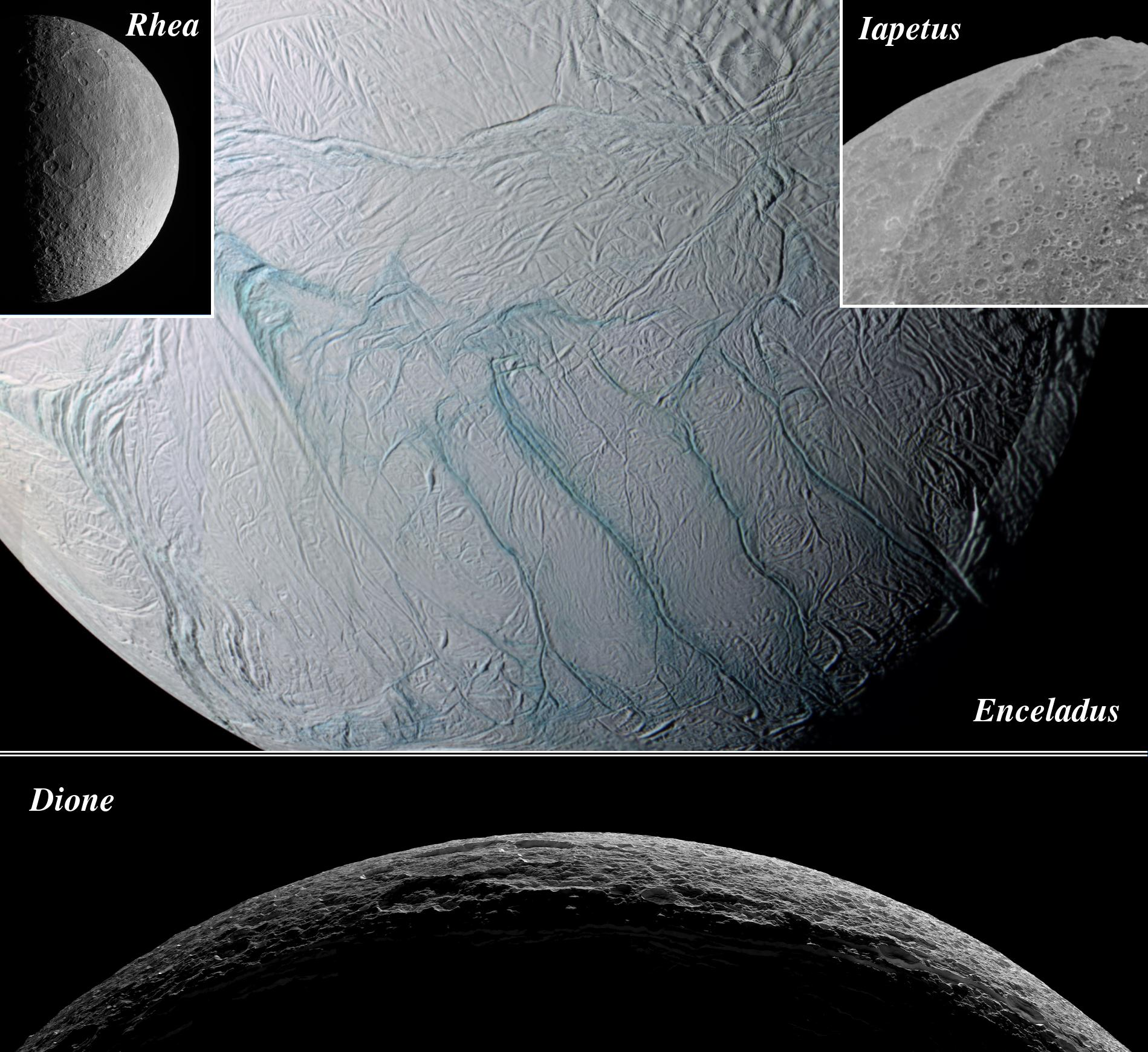 Montage showing different views of Saturn's moons Dione, Enceladus, Iapetus and Rhea