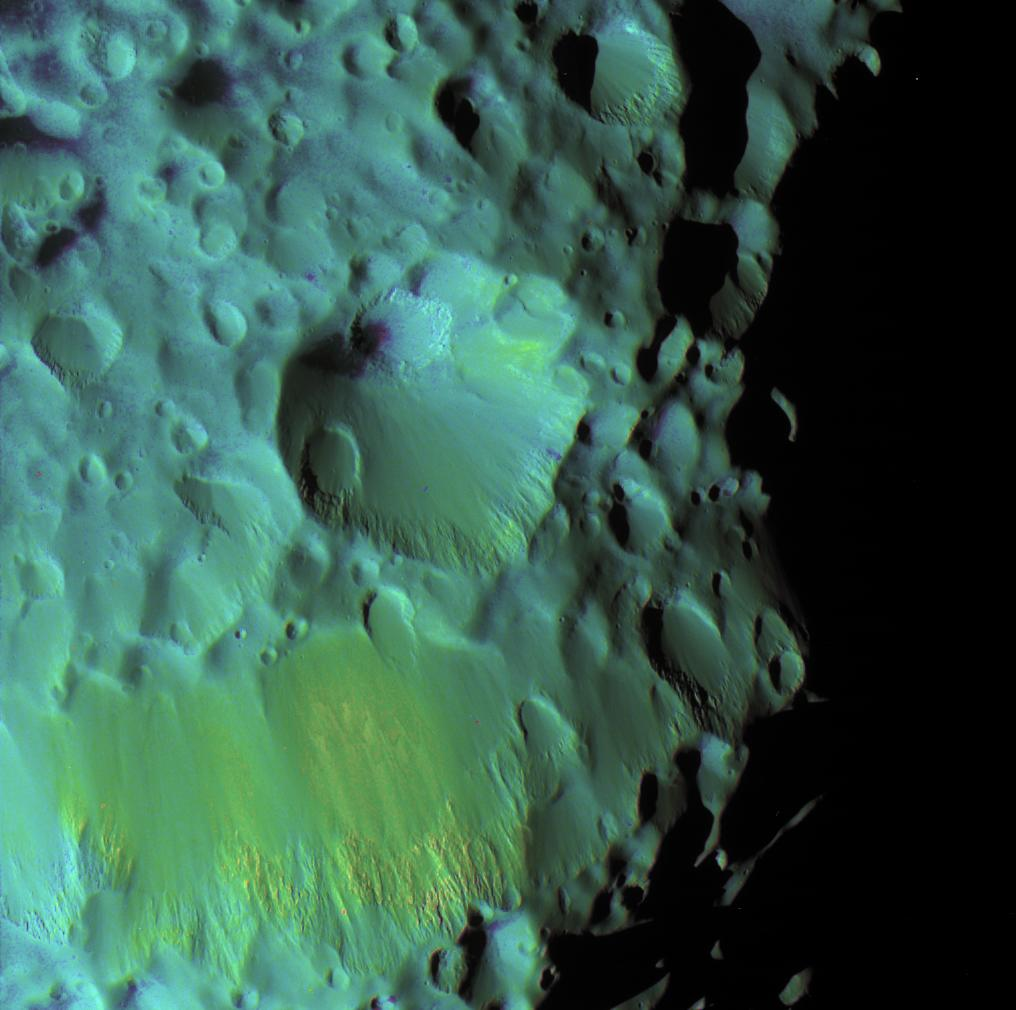 Color-enhanced view of Hyperion's crater Meri