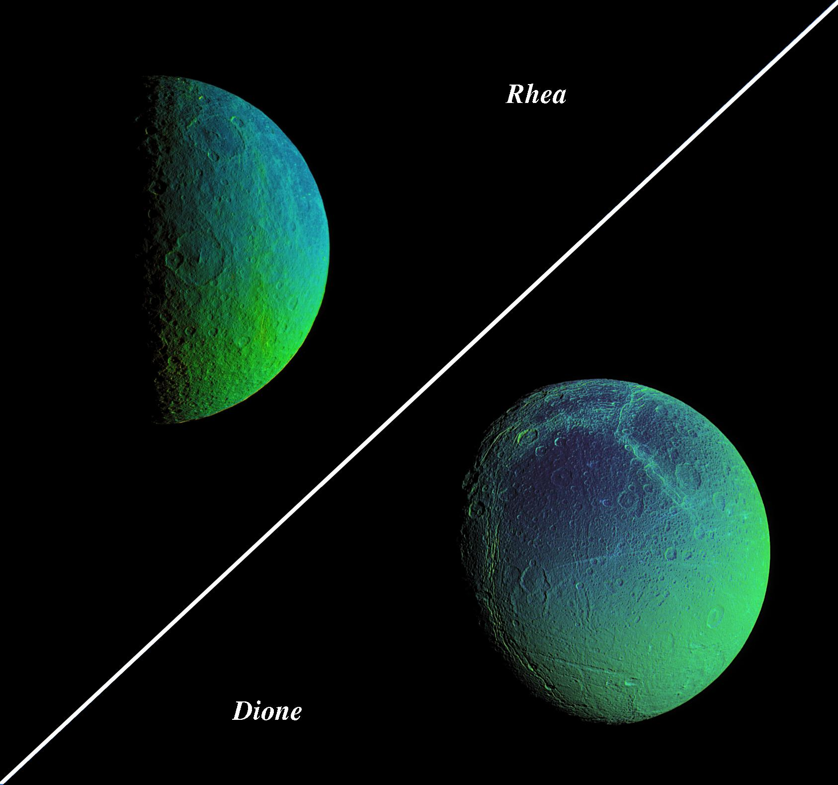 Combination of two views of Saturn's moons Rhea and Dione
