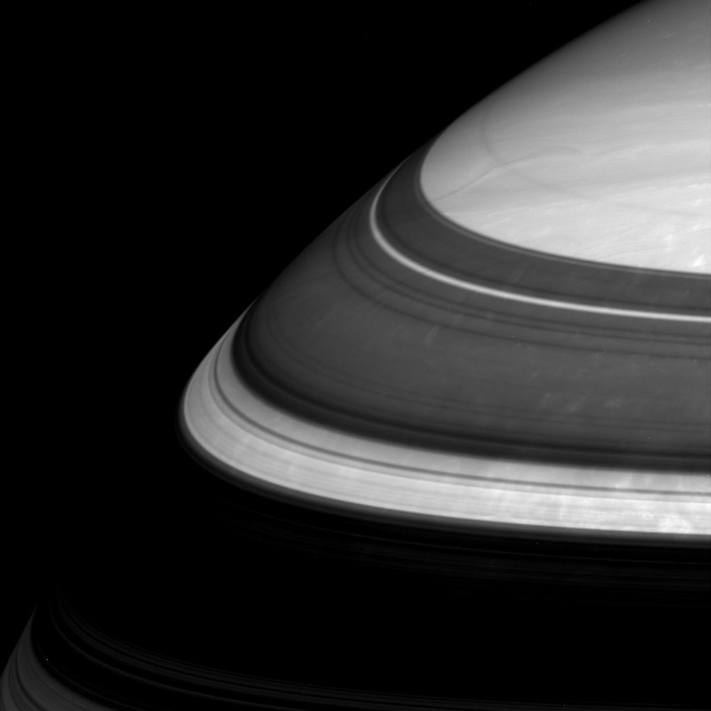Saturn close-up, with the shadow of the rings