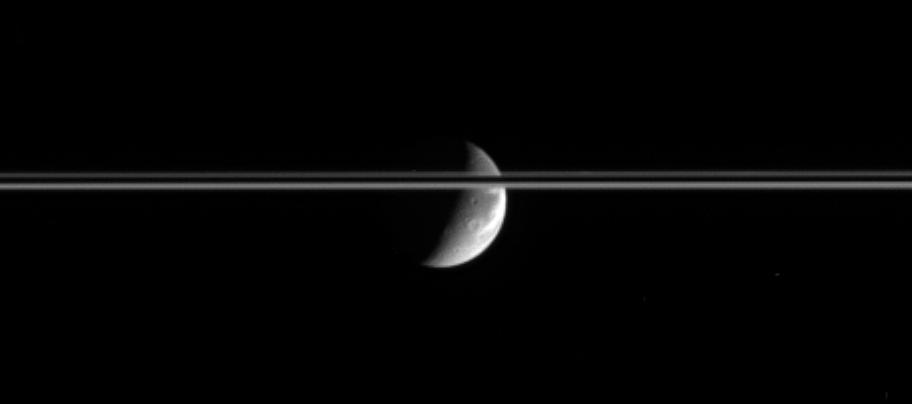 Dione and a portion of Saturn's rings