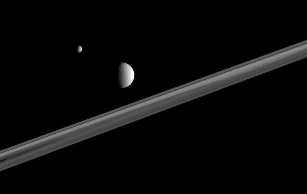 Saturn's rings with Mimas and Dione
