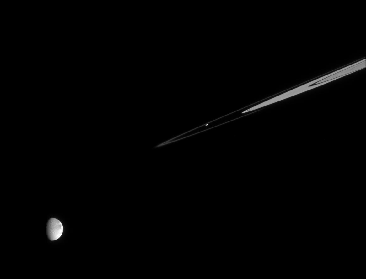 Prometheus, the F ring, and Dione