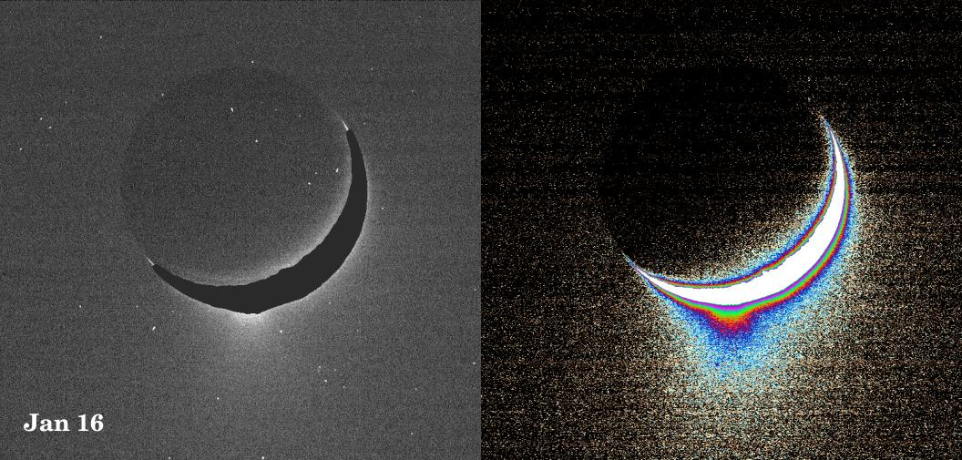 Two views of Enceladus: left shows 'natural' color; right shows a color-coded version