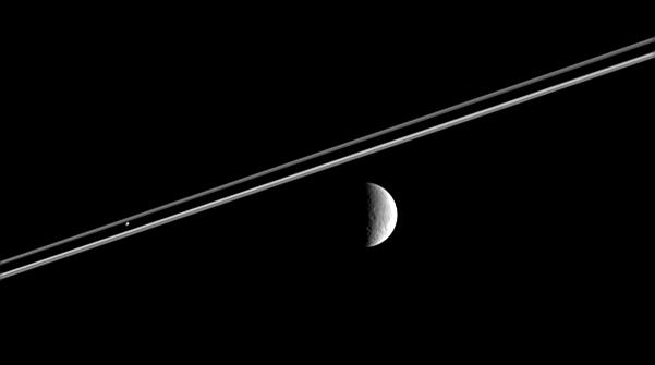 Rhea, Saturn's rings, and Pandora
