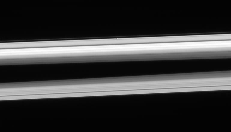 Atlas hugging the outer edge of the A ring