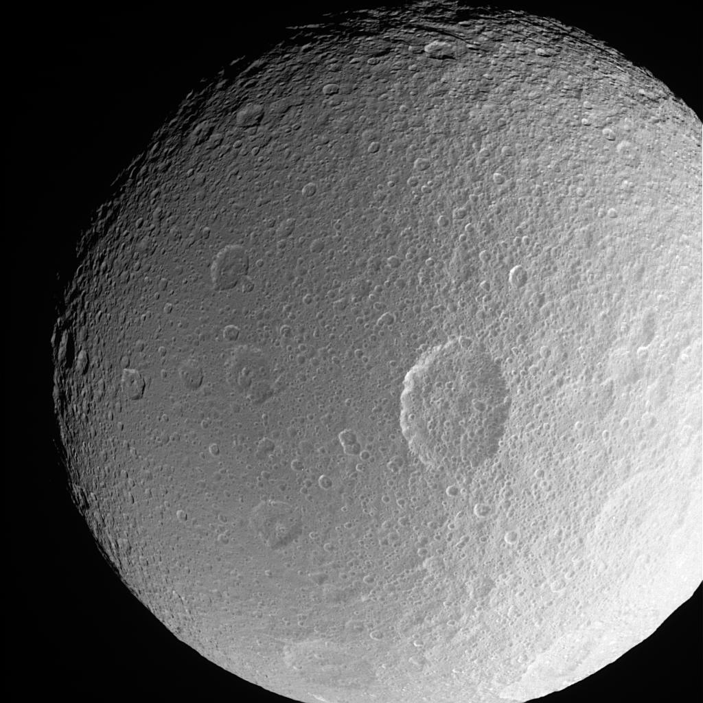 A close-up of Tethys showing the large crater Penelope