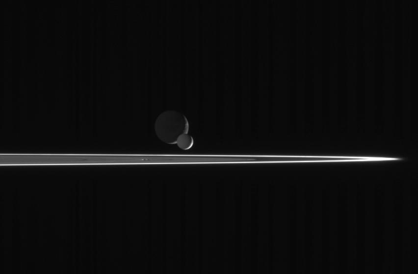 Pairing of two moons (Enceladus and Dione) beyond the rings