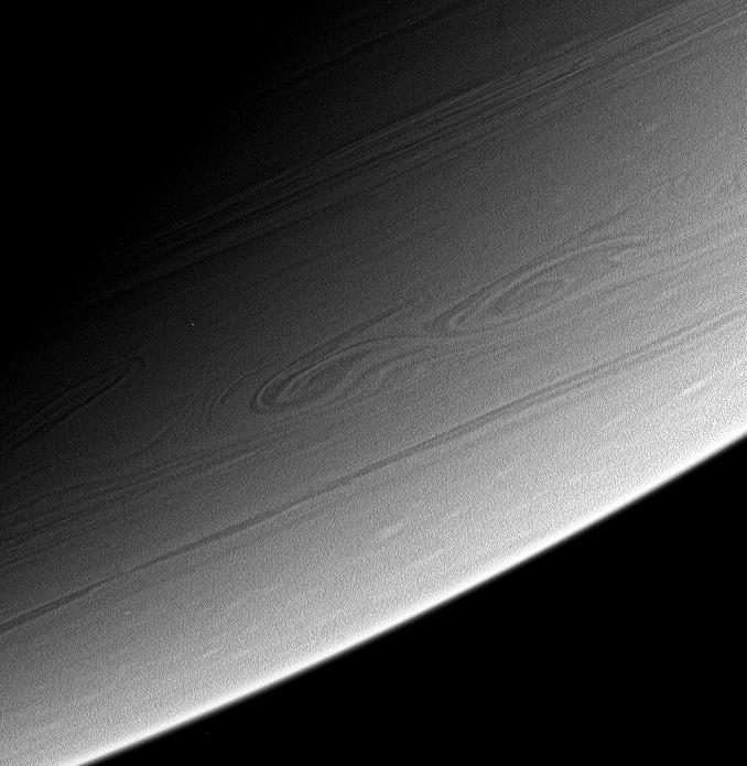 A view of high southern latitudes on Saturn