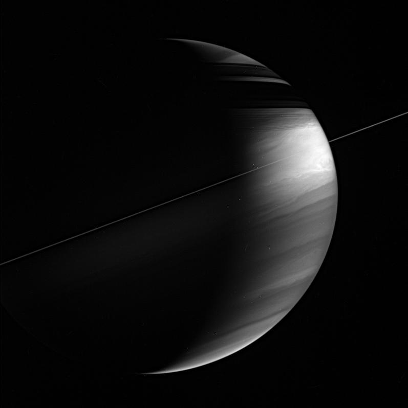 This view of Saturn shows its tilt relative to the plane of its orbit