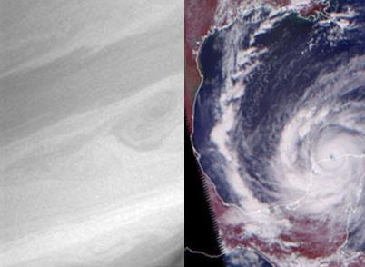 Side by side images. Left: close-up of Saturn. Right: a view of a hurricane on Earth from space.