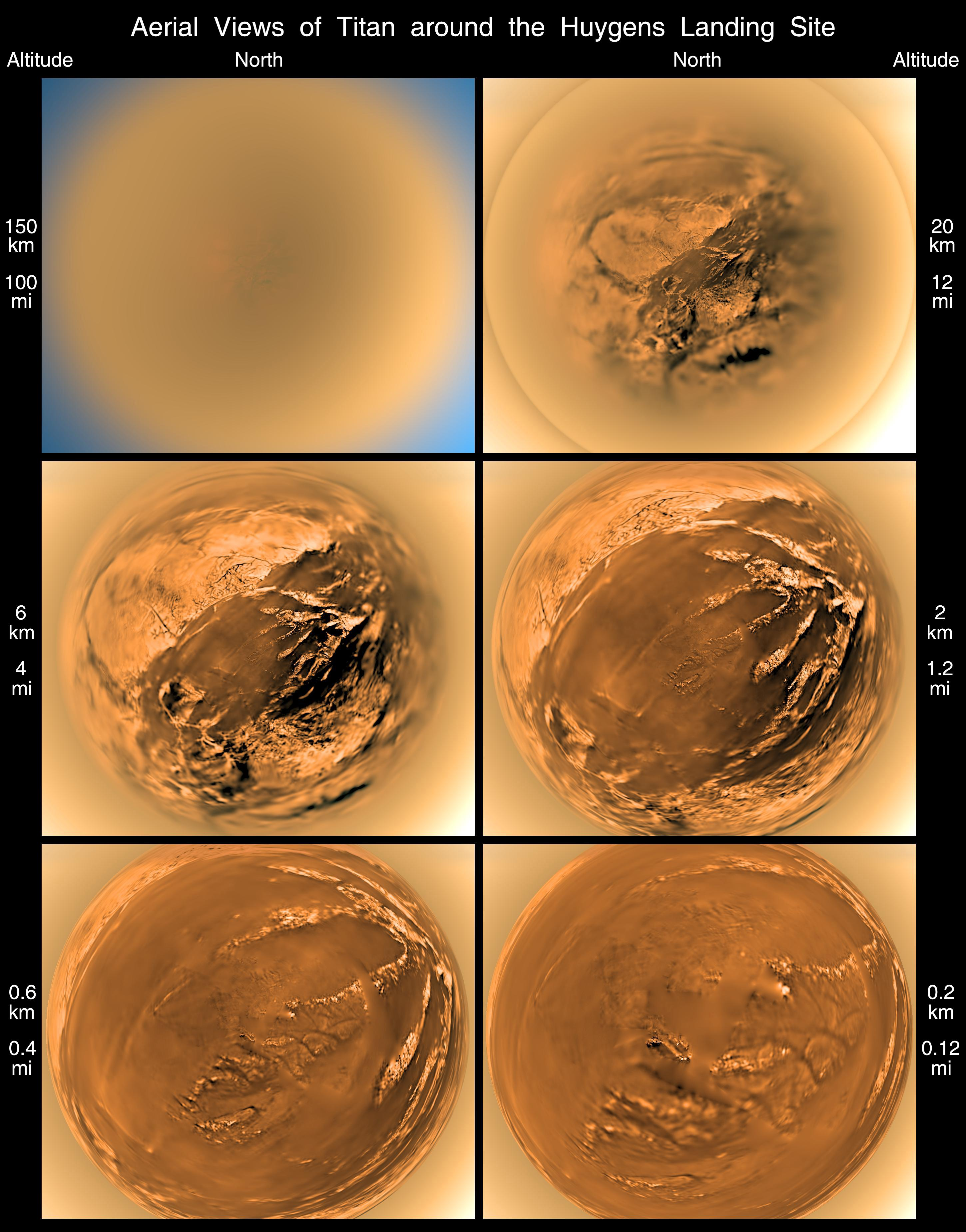 This poster shows a stereographic (fish-eye) view of Titan's surface from six different altitudes