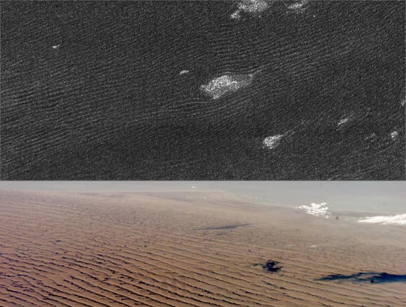 Sand dunes on Titan, upper image, and on Earth