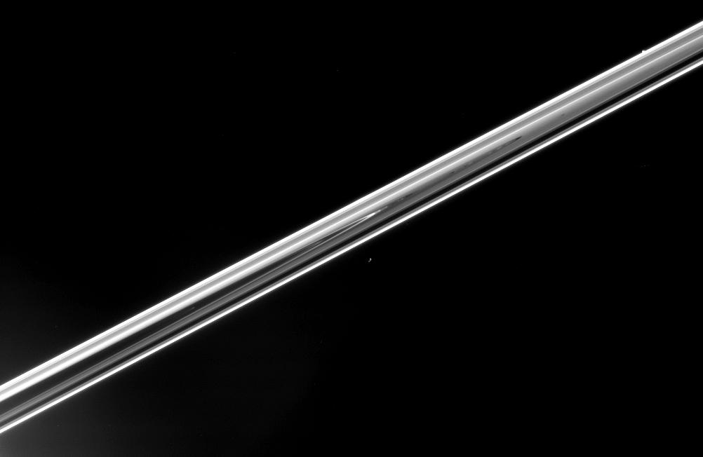 The unlit side of Saturn's rings, Epimetheus and Pandora