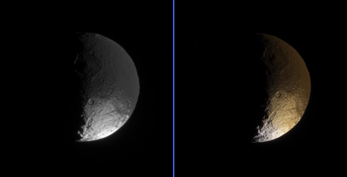 Two views of Enceladus: left in black and white, right in color