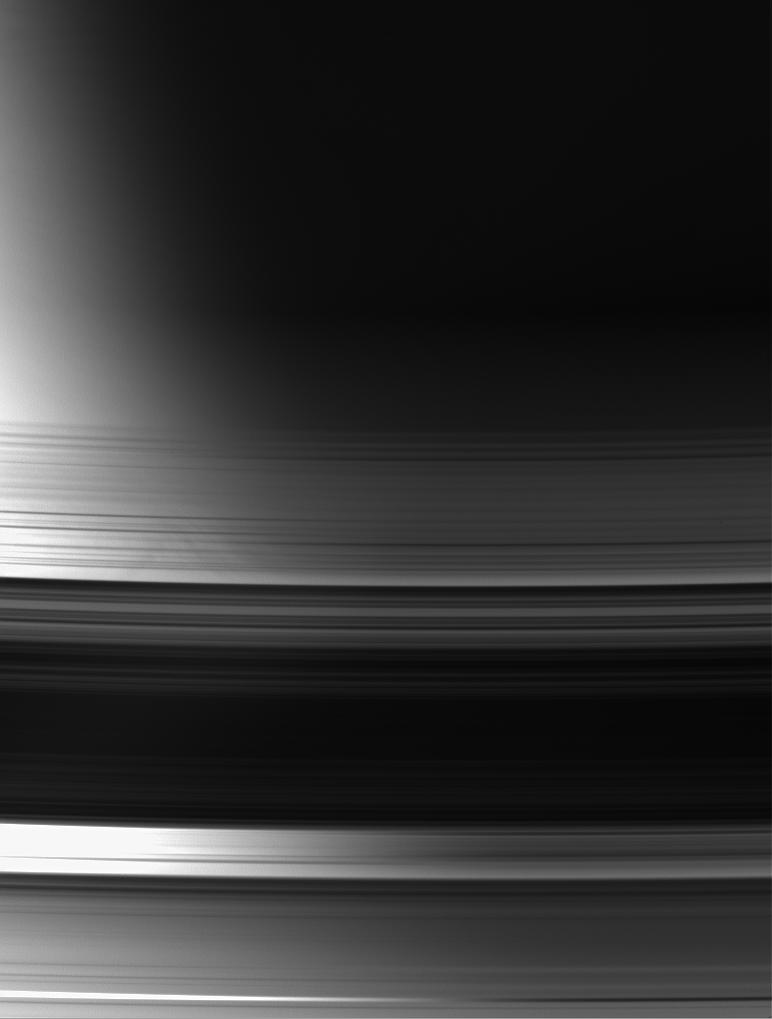 A view of the unlit face of Saturn's rings