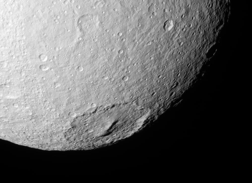 The crater Melanthius on Saturn's moon Tethys