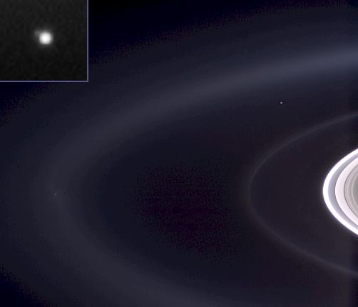 Saturn's rings and Earth seen from nearly 1.5 billion kilometers (930 million miles) away