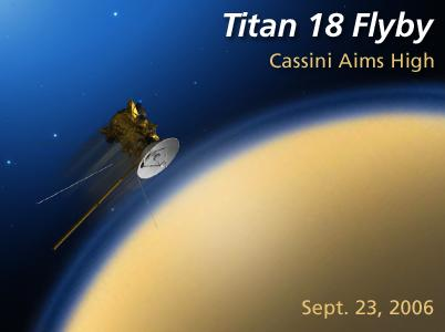 Artist rendition of Titan flyby, Sept. 23, 2006