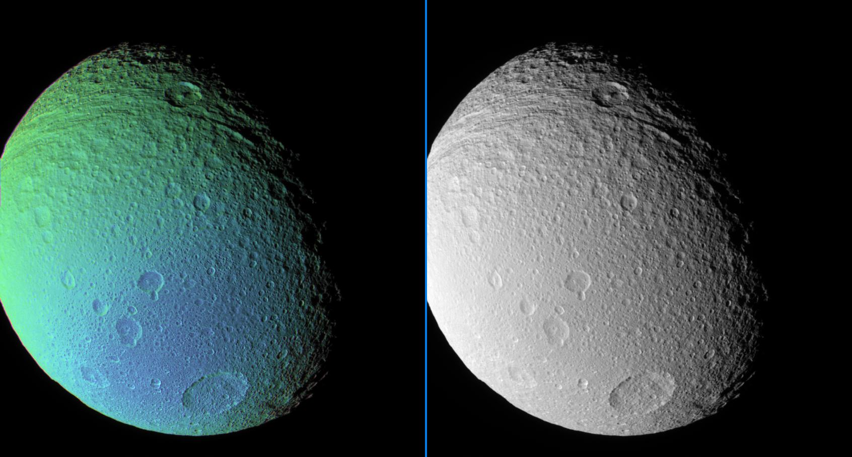 Tethys in false-color and monochrome view