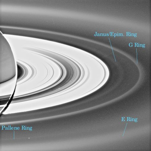 Image with labels of faint ring coincident with the orbit of Pallene