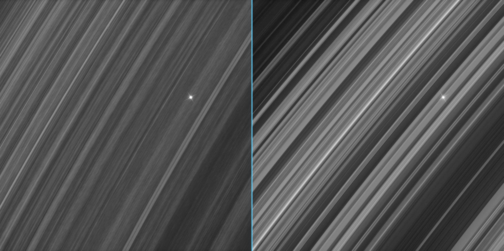 Side-by-side views of a star seen through Saturn's B ring