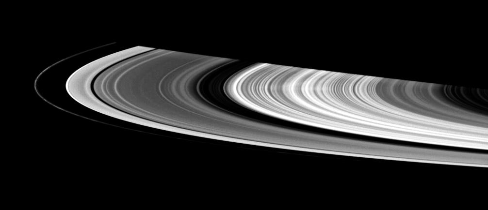 This contrast-enhanced view shows a faint spoke in Saturn's B ring