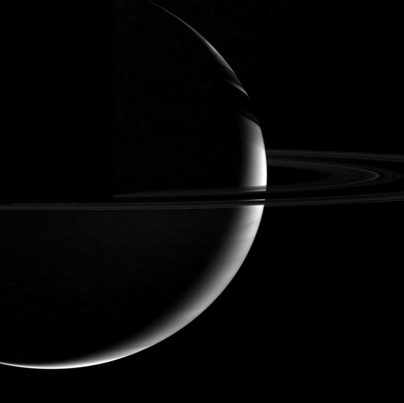 "Saturn and the ""dark"" side of its rings"