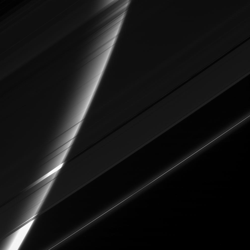 Saturn seen through its gauzy veil of rings