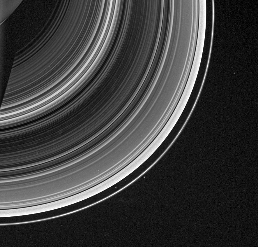 Faint spokes against the striped landscape of Saturn's B ring