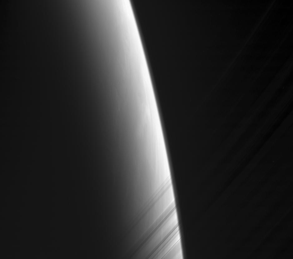 Daybreak on Saturn through the delicate strands of the C ring