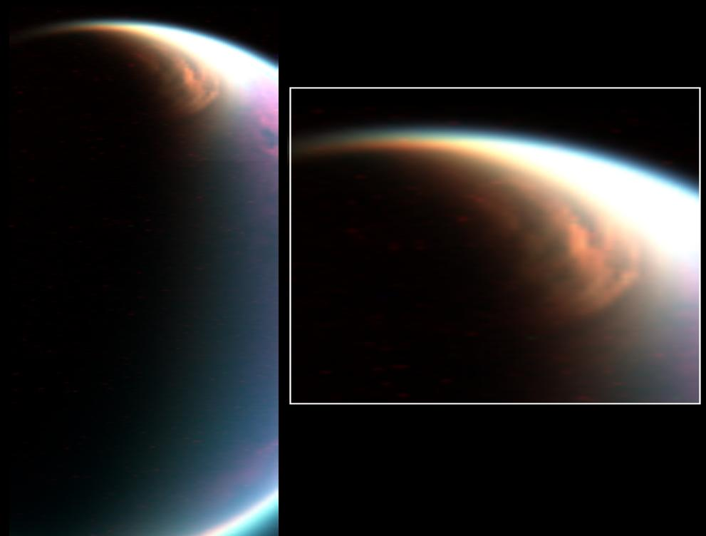 A huge cloud system covering the north pole of Titan