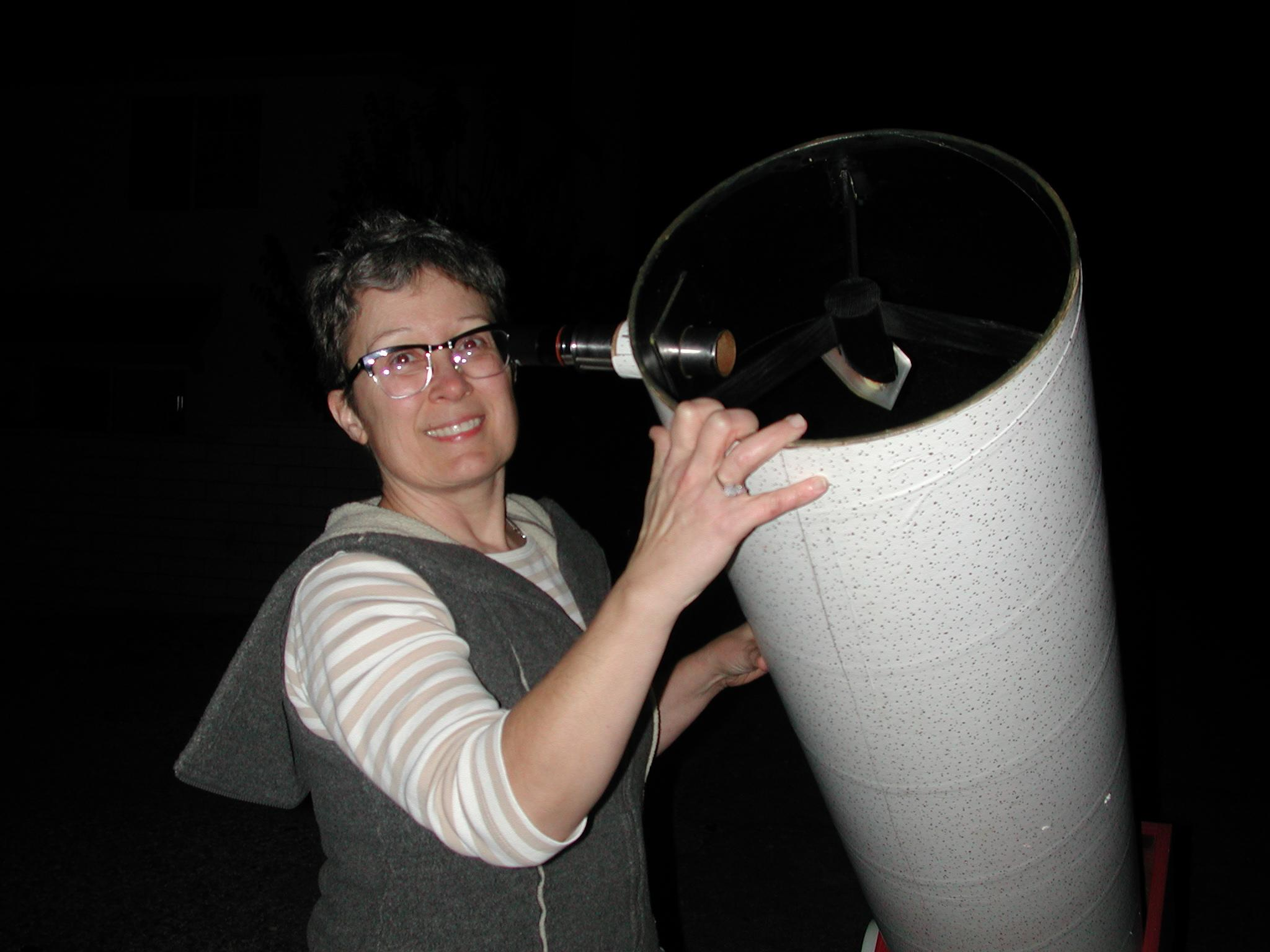 Jane Houston Jones and telescope