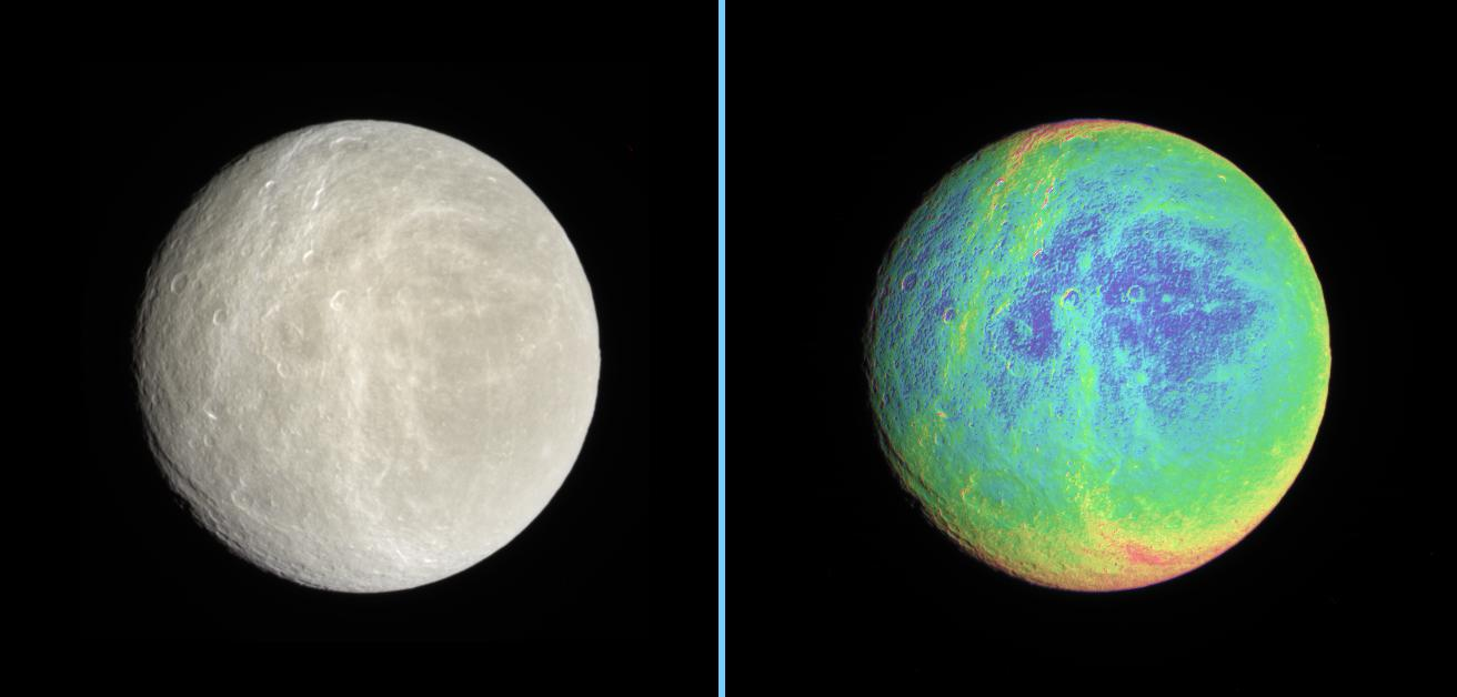 Rhea in natural color and false-color